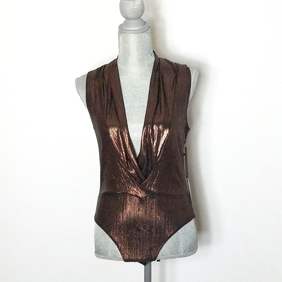 397b05686262 Astr Tops | Taryn Copper Bodysuit With Plunging Neckline | Poshmark